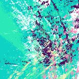 Cyan background. Hand drawn multi colored textured streaks, strokes, splashes and spots. stock illustration