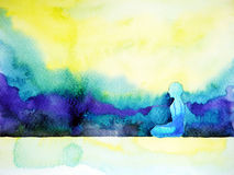 Abstract art watercolor painting human meditating calm peace Royalty Free Stock Image