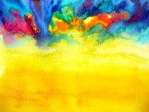 Abstract art watercolor painting illustration design background. Hand drawing yellow light Stock Images