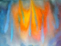 Abstract art watercolor painting illustration design background. Hand drawn fire flame Royalty Free Stock Images