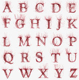 Abstract artery font. Abstract red artery font upper case Stock Images