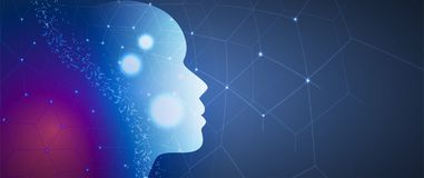 Artificial intelligence. Technology web background. Virtual conc. Abstract Artificial intelligence. Technology web background. Virtual concept Royalty Free Stock Photography