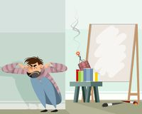 Abstract artist in work. Vector illustration of an abstract artist in work Royalty Free Stock Photo