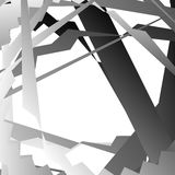 Abstract artistic background with distorted overlapping shapes. Grayscale, monochrome graphical backdrop in square format - Royalty free vector illustration Stock Photo