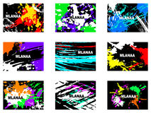 Abstract artistic Background with floral element and colorful blots. Set of abstract cards. Stock Images