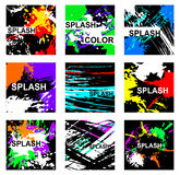 Abstract artistic Background with floral element and colorful blots. Set of abstract cards. Vector design Royalty Free Stock Photography