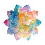 Abstract artistic background with floral silhouette and colorful blots. Cosmic rainbow multicolor background vector illustration