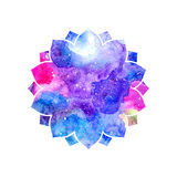 Abstract artistic background with floral silhouette and colorful blots. Cosmic rainbow multicolor background Stock Image