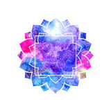 Abstract artistic background with floral silhouette and colorful blots. Cosmic rainbow multicolor background royalty free illustration
