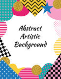 Abstract artistic background in Memphis style of 80-90. Rectangu. Lar vertical frame Stock Photo