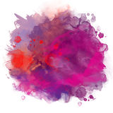 Abstract artistic beautiful colorful bright watercolor spot hand. Painted background. Text template. Grunge spring summer colors. Magenta, lilac and blue shades royalty free illustration