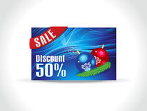Abstract artistic blue chrtistmas discount card. Vector illustration Stock Images