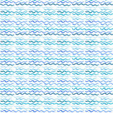 Abstract artistic bright. Cute sophisticated wonderful gorgeous elegant graphic beautiful blue, navy, indigo, turquoise, ultramarine horizontal waves pattern of stock illustration