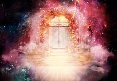 Artistic Multicolored 3d Rendering Computer Generated Illustration Of A Glowing Higher Dimension Heaven`s Gate Artwork. Abstract Artistic Colorful 3d Computer royalty free illustration
