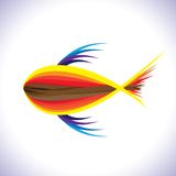 Abstract & artistic colorful fish in blue waters. Abstract illustration of colorful fish in deep blue water. The graphic is done using shades of red and Stock Photos