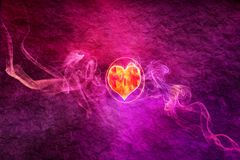 Abstract Artistic Colorful Heart in a Smoky Background. Abstract multicolored artistic digitally drawn heart in a multicolored foggy background vector illustration