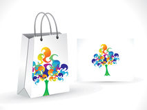 Abstract artistic colorful  tree shopping bag. Vector illustration Royalty Free Stock Image