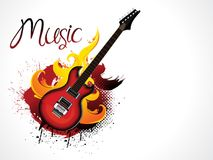 Abstract artistic creative burning guitar. Vector illustration Stock Photos