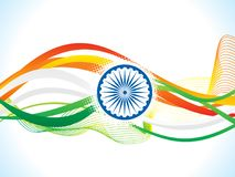 Abstract artistic creative indian flag wave. Vector illustration Stock Photos