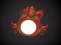 Abstract artistic creative orange floral circle. Vector illustration royalty free illustration
