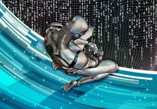 Abstract Artistic 3d Computer Generated Illustration Of A Sad Artificial Intelligent Man Setting In Complete Surrender On A Modern royalty free illustration