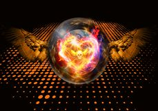 Abstract artistic 3d rendering illustration of a modern colorful unique fiery heart in a crystal ball artwork royalty free illustration