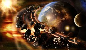 Abstract Artistic 3d Rendering Illustration Of Planet Earth With A Glowing Rotating Asteroids Belt royalty free stock images