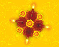 Abstract artistic diwali background. Abstract artistic diwali on yellow rangoli discount card vector illustration Royalty Free Stock Image