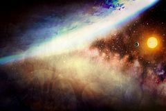 Artistic Abstract Glowing Planet in A Dramatic Multicolored Bright Galaxy Artwork stock image