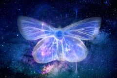Abstract Artistic Energy Field Butterfly Shape in Space Background. Abstract foggy colorful field of energy shaped as a butterfly in a multicolored space galaxy vector illustration