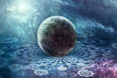 Abstract artistic fractal 3d computer generating ball on an artwork background vector illustration