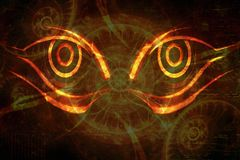 Abstract Artistic Fury Eyes on an Artistic Abstract Background royalty free illustration