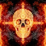 Abstract artistic glorifying religious fiery smoky cross skull artwork as a unique background. Artistic colorful death skull with flower icon eyes on a cross in royalty free stock photo