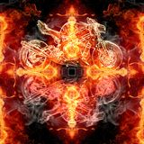 Abstract artistic glorifying religious smoky fiery energetic cross artwork as a unique background. Artistic abstract pure glowing smoking fiery energetic cross stock illustration