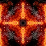 Abstract artistic glorifying religious smoky fiery energetic cross artwork on a black background. Artistic abstract pure glowing fiery energetic artwork as a stock illustration