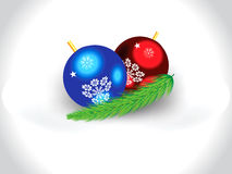 Abstract artistic glossy christmas balls with leaf. Vector illustration Royalty Free Stock Photos