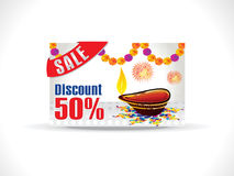 Abstract artistic golden deepak on dotted background. Abstract artistic diwali on colorful rangoli discount card vector illustration Stock Image