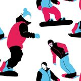 Abstract artistic graphic multicolor holiday winter seamless pattern young people on snowboards in vector. Winter sports illustration stock illustration