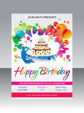 Abstract artistic happy birthday flyer. Vector illustration Stock Images
