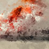 Abstract Artistic High Resolution Digital Watercolor Painting with Vivid Orange and Brown Colors on Paper Texture. Abstract Artistic High Resolution Digital vector illustration