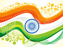 Abstract artistic indian flag wave. Vector illustration Stock Photo