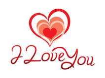Abstract artistic love you text. Vector illustration royalty free illustration