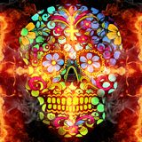 Abstract artistic multicolored religious glorifying fiery energetic skull artwork background. Artistic abstract multicolored fiery energetic artwork as a unique stock images