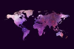 Abstract Artistic Multicolored World Map On A Dark Purple Background. Abstract multicolored modern digital world map on a dark purple theme background stock illustration