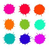 Abstract artistic paint drops. Set of vector abstract artistic paint splashes and drops. Multicolor ink blots over white background Royalty Free Stock Photography