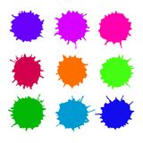 Abstract artistic paint drops. Set of vector abstract artistic paint splashes and drops. Multicolor ink blots over white background royalty free illustration