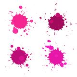 Abstract artistic paint drops. Set of vector abstract artistic paint splashes and drops. Pink ink blots isolated over white background royalty free illustration