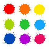 Abstract artistic paint drops. Set of vector abstract artistic paint splashes and drops. Multicolor ink blots over white background Stock Photo