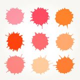 Abstract artistic paint drops. Set of vector abstract artistic paint splashes and drops. Red and orange ink blots over white background Stock Photos