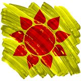 Abstract artistic painted sun on yellow background. Vector illustration Royalty Free Stock Image